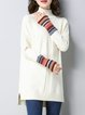 Beige Knitted Turtleneck High Low Long Sleeve Sweater