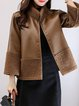 Turtleneck Long Sleeve Solid PU Casual Fur And Shearling Coat