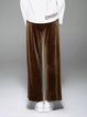 Coffee Velvet Casual Lace Up Wide Leg Pants