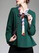 Plus Size Tie-neck Long Sleeve Casual Blouse