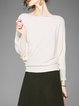 Ribbed Solid Knitted Casual Batwing Sweater