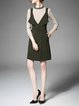 Wrap Casual Long Sleeve Knitted Solid Dress With Top