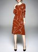 Brown Geometric Long Sleeve Crew Neck Knitted Sweater Dress