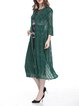 Plus Size Green Bell Sleeve Solid Guipure Lace Coat