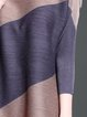Plus Size Shift Long Sleeve Casual Crew Neck Color-block Midi Dress