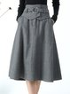 Plus Size Gray Casual Stripes A-line With Belt Midi Skirt