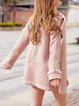 Pink Long Sleeve Solid Fur And Shearling Coat