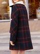 Red Shirt Collar Paneled Long Sleeve Fur And Shearling Coat