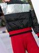 Long Sleeve Color-block Casual Turtleneck Down Coat