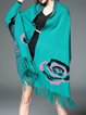 Plus Size Casual Cape Sleeve Fringed V Neck Poncho And Cape