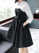 Black-white A-line Bow Midi Dress