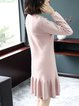 Solid Casual Flounce Long Sleeve Sweater Dress