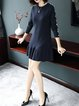 Navy Blue Solid Beaded Long Sleeve Flounce Sweater Dress