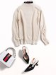 Long Sleeve Casual Letter Paneled Knitted Sweater