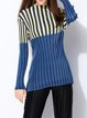 Plus Size Blue Casual Stand Collar Stripes Top