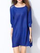 Casual Pleated H-line Balloon Sleeve Solid Mini Dress