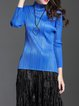 Stand Collar Casual Pleated Long Sleeve Top
