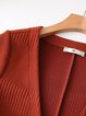 Plus Size Caramel Casual Knitted Solid Ribbed Cardigan