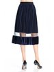 Plus Size Navy Blue Casual Pleated Midi Skirt