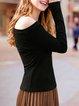Cold Shoulder Long Sleeve Sexy Solid Top