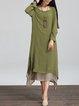 Linen Dress Asymmetrical Daily Long Sleeve Casual Dress