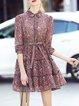 Shirt Collar  Mini Dress Blouson Daytime 3/4 Sleeve Bow Dress