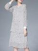 Gray Crew Neck Two Piece Elegant Polka Dots Midi Dress