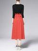 Red Elegant A-line Paneled Ruffled Drawcord Midi Dress