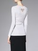 White Wool Blend Beaded Geometric Long Sleeved Top