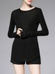 Black Crew Neck Knitted Plain Long Sleeved Top