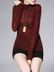 Wine Red Plain Knitted Simple Turtleneck Long Sleeved Top