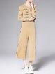 Camel Two Piece Appliqued Long Sleeve Jumpsuit