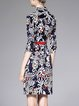 Half Sleeve Printed Sheath Casual Cotton-blend Shirt Dress with Belt