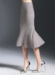 Gray Elegant Ribbed Mermaid Midi Skirt