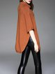 Brown Half Sleeve Turtleneck Wool Blend Buttoned Sweater