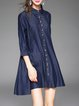 Blue Denim Casual A-line Buttoned Mini Dress
