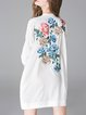White Casual Floral Embroidered Stand Collar Mini Dress
