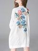 Elegant Embroidered Floral Long Sleeve Mini Dress