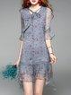 Blue Frill Sleeve Floral Printed V Neck Asymmetrical Bow Silk Midi Dress