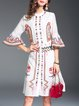 White Floral-embroidered Bell Sleeve Midi Dress