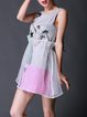 Crew Neck A-line Printed Sleeveless Casual Mini Dress
