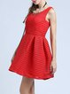 Red Crew Neck Solid Sleeveless Mini Dress