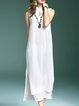 White Cutout Slit Stand Collar Sleeveless A-line Maxi Dress
