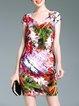 Shorts Sleeve V Neck Sheath Elegant Printed Mini Dress