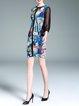 Multicolor H-line Printed Crew Neck 3/4 Sleeve Midi Dress