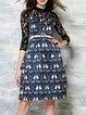 Blue A-line Casual Pierced Lace Midi Dress