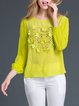 Pierced Flower Long Sleeve Silk Appliqued Blouse