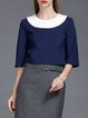 Navy Blue Cotton-blend Casual Color-block Cropped Top