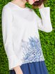 Frill Sleeve Printed Casual Crew Neck T-Shirt