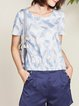 Your Truth Casual White Crew Neck Floral Blouse with Short Sleeve